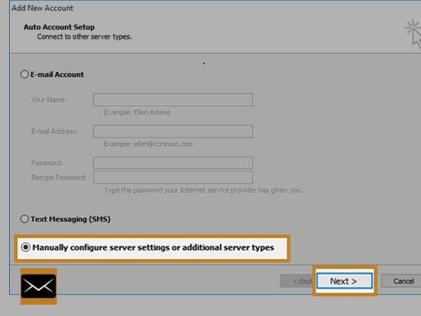 Select Manual Setup or Additional Server Type