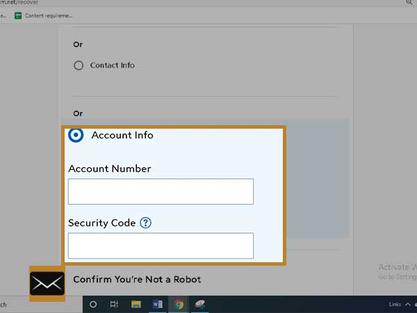 Add your Spectrum Account number, security code